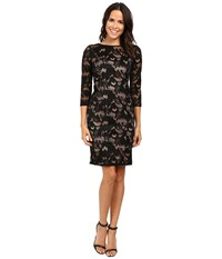 Adrianna Papell Lined Carol Lace Sheath Dress With Jeweled Neckline Black Pale Pink Women's Dress