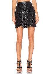 Sam Edelman Emma Floral Faux Leather Skirt Black