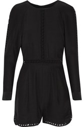 Jonathan Simkhai Cutout Silk Crepe De Chine Playsuit Black