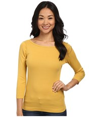 Three Dots 3 4 Sleeve British Tee Urban Gold Women's Long Sleeve Pullover Yellow