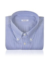 Del Siena Striped Cotton Dress Shirt Blue