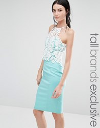 Paper Dolls Tall High Neck Bodycon Dress With Contrast Lace Bodice Aqua Cream Green