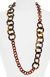 Women's L. Erickson 'Madison' Link Station Necklace Tokyo Tortoise