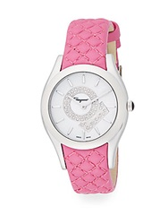 Salvatore Ferragamo Gancino Soiree Diamond Stainless Steel Leather Strap Watch Pink Silver