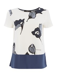 Max Mara Cippo Short Sleeve Printed Front Floral T Shirt Navy And White