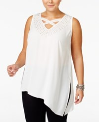 Mblm By Tess Holliday Trendy Plus Size Studded Chiffon Top Almost White