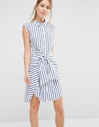 Closet Stripe Tie Front Dress Navy And White Multi