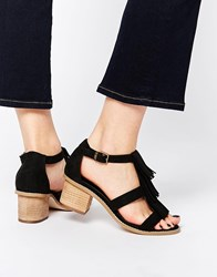 Asos Treasure Wide Fit Heeled Sandals Black