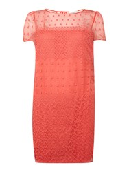 Hoss Intropia Short Sleeve Embroidered Silk Shift Coral