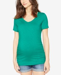 A Pea In The Pod Maternity Ruched V Neck Tee Spade Green