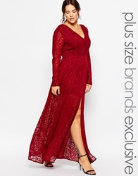 Truly You Lace Maxi Dress With Thigh Split Berry