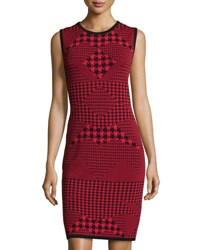 Carmen Carmen Marc Valvo Sleeveless Houndstooth Double Knit Sheath Dress Black Red