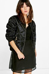 Boohoo Quilted Satin Bomber Black