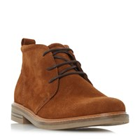 Dune Chadwick Leather Round Toe Chukka Boots Light Brown