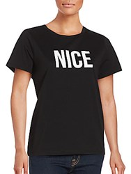 French Connection Statement Cotton Tee Black White