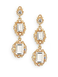 Amrita Singh Victorian Katherine Three Stone Drop Earrings Goldtone