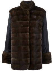 Simonetta Ravizza Panelled Fur Coat Brown