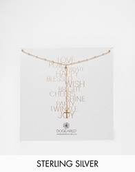 Dogeared Gold Plated Love Peace Beaded Y Simple Cross Drop Necklace