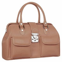 L.A.P.A. Front Pocket Calf Leather Doctor Style Handbag Tan