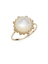 Anzie Dew Drop Mother Of Pearl And 18K Yellow Gold Ring