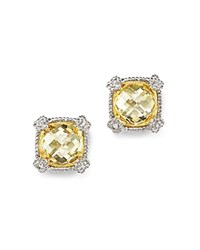 Judith Ripka Cushion Stud Earrings With White Sapphire And Canary Crystal Yellow Silver