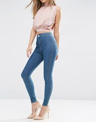 Asos Rivington High Waist Denim Jeggings In Brody Blue Wash Dark Blue
