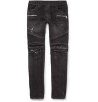 Balmain Slim Fit Distressed Denim Biker Jeans Black