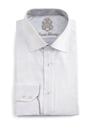 English Laundry Tonal Herringbone Dress Shirt White