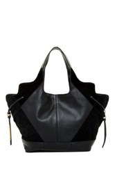 Ella Moss Luna Woven Leather Tote Black