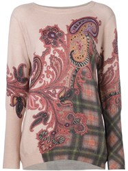 Etro Paisley Print Jumper Pink And Purple