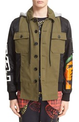 Moschino Men's Graphic Hooded Jacket With Plaid Hem Green Black