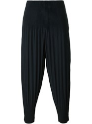 Homme Plisse Issey Miyake Pleated Cuffed Tapered Trousers Blue