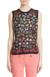 Women's Versace Collection Starfish Print Silk And Cotton Shell