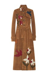 Red Valentino Suede Trench Coat Tan