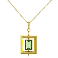 Eclectica Vintage 1970S Geometric Rolled Gold Pendant Necklace Gold Green