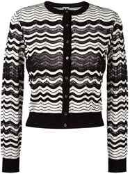 M Missoni Chevron Button Down Cardigan Black