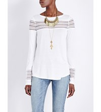 Free People Roxie Embroidered Mesh And Jersey Top Ivory