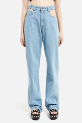 Y Project Cut Out Trousers Bleached Navy