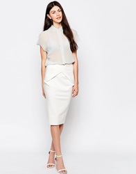By Zoe By Zoe Pencil Skirt With Knot Front Ecru