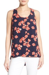 Women's Halogen Scoop Neck Woven Tank Navy Coral Scattered Floral