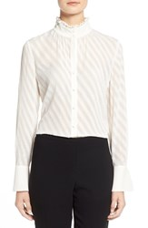 Petite Women's Ellen Tracy Ruffle Trim Stand Collar Blouse Alabaster
