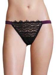 Mimi Holliday Bisou Scalloped Lace Hipster Thong Black
