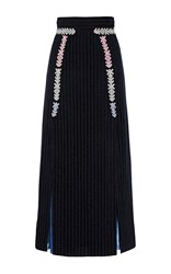 Peter Pilotto Navy Velvet Midi Skirt