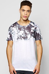 Boohoo Yoke Monochrome Floral T Shirt Black