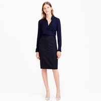 J.Crew Petite Pencil Skirt In Pinstripe Super 120S