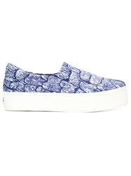 Opening Ceremony Printed Flatform Slip On Sneakers Blue