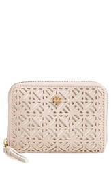 Women's Tory Burch 'Fret T' Perforated Coin Case