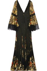 Roberto Cavalli Fringed Lace Paneled Metallic Fil Coupe Gown Black