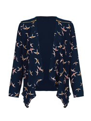 Mela Loves London Swallow Bird Print Waterfall Jacket Navy