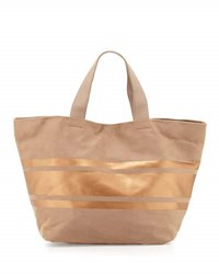 Neiman Marcus Faux Suede Striped Panel Tote Bag Taupe